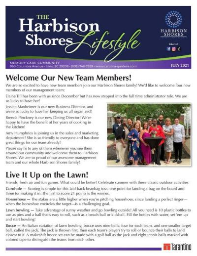 Memory Care Current Newsletter
